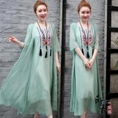 2020年夏季復古寬松刺繡假兩件套民族風七分袖連身裙顯瘦長裙套裝