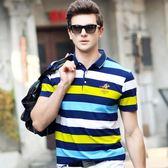 保馬標夏季色織條刺繡短袖t加大碼絲光全棉流行男POLO衫 KB262【VIKI菈菈】