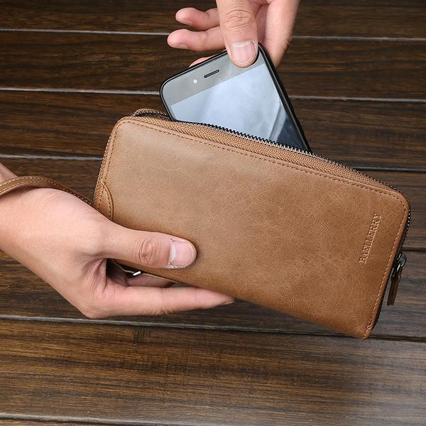 長款大容量手拿包 皮夾拉鏈手機包零錢包韓版時尚男長夾 長款多卡位休閒男手抓包潮流男士錢包
