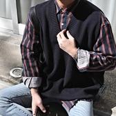 純色大大呎碼毛衣日繫潮新品情侶男V領針織馬甲無袖純色毛衣背心