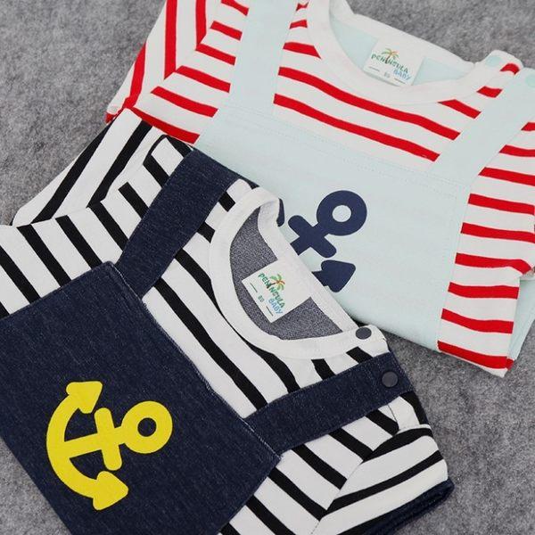 可愛《條紋海錨款》假二件 短袖連身衣