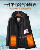 加熱外套冬季沖鋒衣女男潮牌防雨加絨加厚防寒棉服充電加熱滑雪服防風外套 一件免運