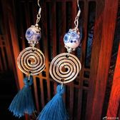 7532#復古名族風手工陶瓷耳環耳飾流行流蘇禮品 陶瓷飾品古鎮青花 辛瑞拉