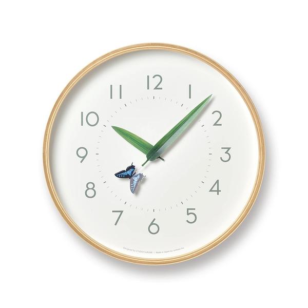 日本 Lemnos Perch Ageha Wall Clock 25.4cm 巧合系列 北海道原木 時鐘 - 燕尾蝴蝶