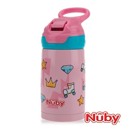 Nuby不鏽鋼真空隨行杯-粉紅派對 300ml