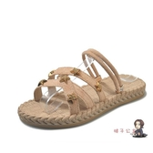拖鞋 女新款網紅潮涼拖鞋 女夏季外穿時尚百搭學生平底沙發可濕水 2色 交換禮物