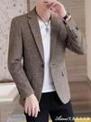 西裝外套西裝男正裝千鳥格子韓版潮流修身小...