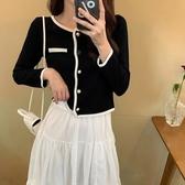 長袖上衣針織衫XL-4XL大碼女裝胖mm針織衫排扣圓領拼色上衣女3F122-胖丫