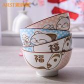 瓷碗組合碗招財貓釉家用餐具套裝