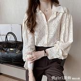 長袖襯衫 蕾絲白襯衣女大碼春秋設計感小眾襯衫長袖t恤鏤空遮肚子上衣200斤 開春特惠