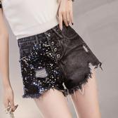 出清388 歐美風時尚亮片高腰寬鬆寬口牛仔單品短褲