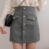 MIUSTAR 珍珠釦造型小香格紋褲裙(共2色,S-L)【NH2874】預購