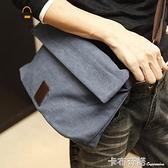 潮流新款帆布包男士韓版包包休閒包單肩包斜背跨包學生包背包潮男