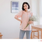 《AB14684》浪漫蕾絲小拋袖襯衫/上衣--適 2L~6L OrangeBear