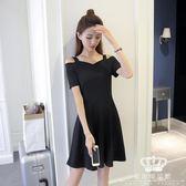 短袖洋裝 正韓赫本a字小黑裙吊帶連身裙 艾米潮品館