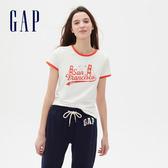 Gap 女裝 Logo棉質舒適圓領短袖T恤 501071-牛奶白色