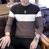 男士毛衣圓領秋冬季新款韓版潮流加絨針織衫修身線衣外套男裝衣服  【PinkQ】