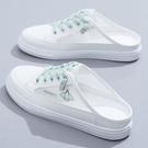 半拖鞋 女2021夏季新款百搭薄款透氣網面網鞋涼拖外穿包頭小白單鞋 維多原創