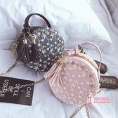 流蘇包 鍊條小包包2019新款韓版迷你蕾絲花朵流蘇小圓包手提單肩斜背女包 3色