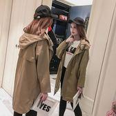 lulu薄款風衣女中長款韓版春秋季2019新款外套學生休閒bf寬鬆大衣『艾麗花園』