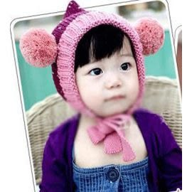 Qmishop  小妖精兒童秋冬帽角帽子【QB078】