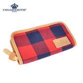 【COLORSMITH】CC・拉鍊式長夾-紅藍格紋・WLCC2056-RB
