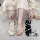 大尺碼涼鞋 平底水鉆羅馬涼鞋仙女風2020新款時裝網紅低跟帶鉆大碼涼鞋ins潮 OB8247