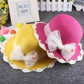 兒童草帽女童天出游防曬遮陽帽子小女孩沙灘帽太陽帽公主盆帽子 薔薇時尚