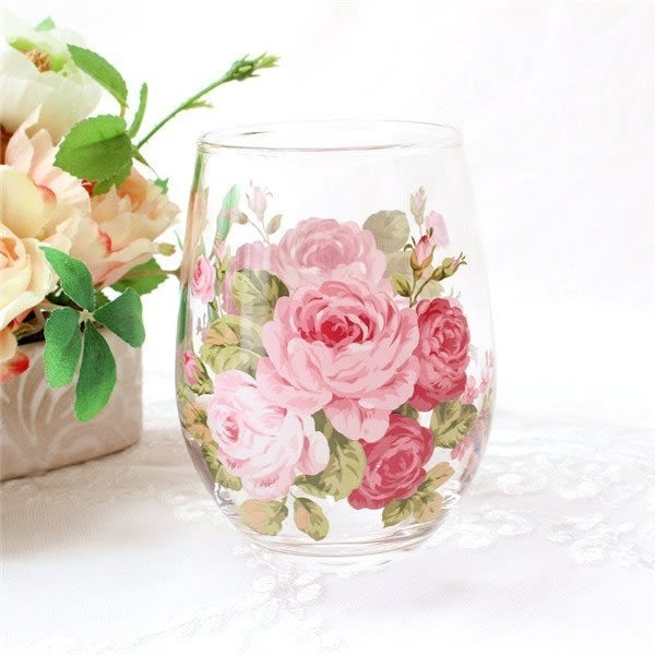 日本【紀念玫瑰 Anniversary Rose】玻璃杯