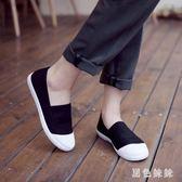 小白鞋2019新款春夏韓版休閒一腳蹬透氣懶人學生ulzzang女WL3351『黑色妹妹』