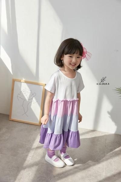 純棉 甜美撞色層次蛋糕裙洋裝 春夏童裝 女童洋裝 女童長版 女童連身裙 女童傘裙