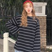快時尚女裝~早秋韓版chic上衣慵懶風條紋長袖T恤寬鬆打底衫