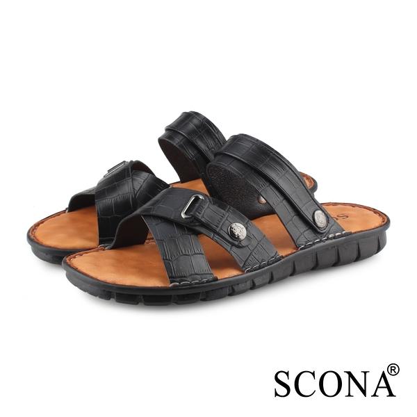 SCONA蘇格南 全真皮 精縫手工兩穿式厚底涼鞋 黑紋 1749-1