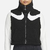 Nike SPORTSWEAR SWOOSH 女裝 背心 休閒 短版 雙勾 羊羔毛 黑【運動世界】DH1092-010