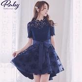 洋裝 前短後長植絨蕾絲綁帶短袖洋裝-Ruby s 露比午茶