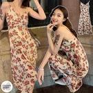 EASON SHOP(GQ0877)韓版復古玫瑰花朵親膚收腰無袖細肩帶吊帶背心連身裙洋裝女過膝長裙傘狀大擺A字裙