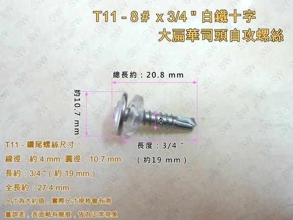 T11十字自攻螺絲 8#×3/4 〞(100支/包)白鐵自攻螺絲 大扁華司頭鑽尾螺絲 不銹鋼螺絲 PC板採光罩