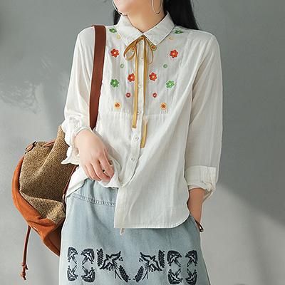 雙層棉襯衫 刺繡繫帶襯衫 白襯衫 直筒長袖上衣-夢想家-0110