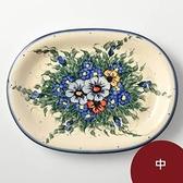 波蘭陶 紫花蔓藤系列 橢圓盤 中 波蘭手工製