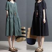 推薦棉麻連衣裙女夏季新款寬鬆大碼收腰顯瘦休閒民族風亞麻中長裙(818來一發)