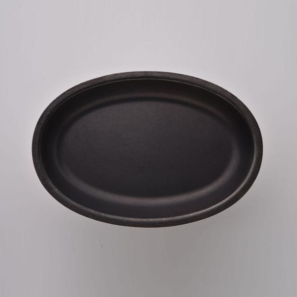 日本 AOYOSHI 青芳製作所 仿舊霧黑不銹鋼橢圓餐盤-20.8cm