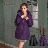 鋪棉外套--滿分保暖.連帽拉鍊口袋羅紋滾邊設計鋪棉長版外套(黑.紫M-2L)-J203眼圈熊中大尺碼★