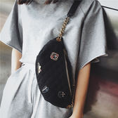 胸包 超火包包女2019新款潮菱格徽章胸包韓版百搭小挎包時尚腰包 2色