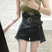 韓版高腰寬管熱褲不規則a字寬鬆牛仔短褲女夏季 可可鞋櫃