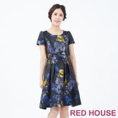 【RED HOUSE 蕾赫斯】蝴蝶結緹花洋裝(藍色)