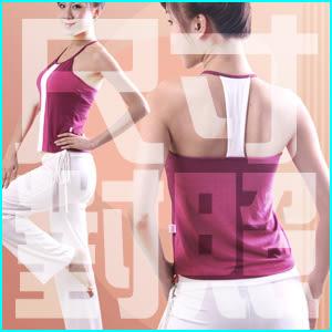 ★時尚設計瑜珈韻律運動套裝(紫紅上衣+長褲).有氧--尺寸對照表