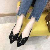 平底鞋 尖頭平底鞋新款女鞋韓版網紅女款鞋水鑽淑女軟底百搭淺口單鞋 伊蘿鞋包精品店