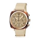 BRISTON CLUBMASTER 經典雙眼計時腕錶-玫瑰金框X香草色