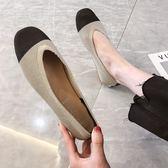 豆豆鞋女士奶奶鞋女2019春夏方頭淺口一腳蹬豆豆鞋針織平底單鞋百搭 雲朵走走