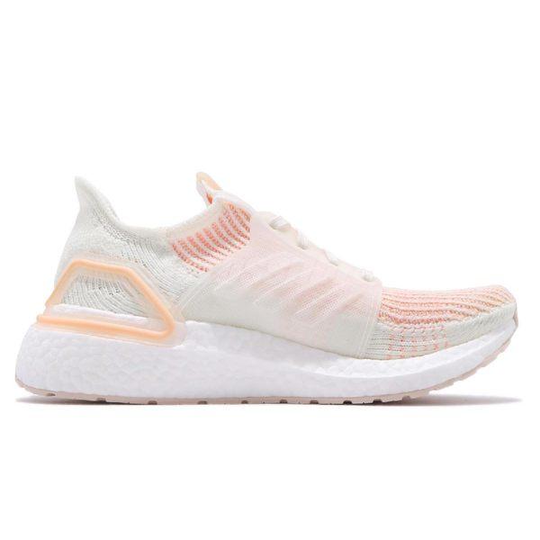 adidas 慢跑鞋 UltraBoost 19 W 白 橘 女鞋 BOOST 運動鞋 【PUMP306】 F34073